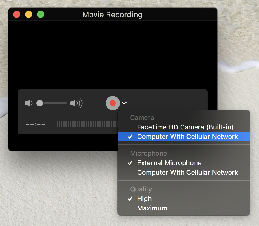 Select iOS device for screenshots in QuickTime Player