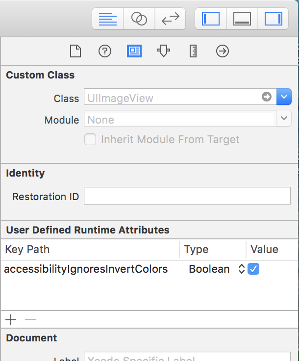 setting accessibilityIgnoresInvertColors to true in Interface Builder