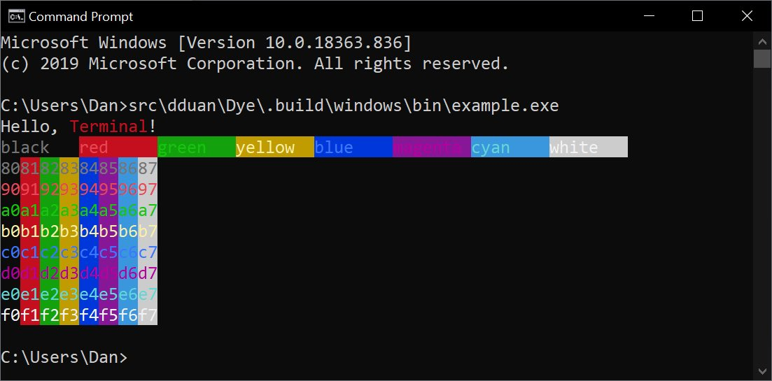 Dye sample app running in Windows Command Prompt